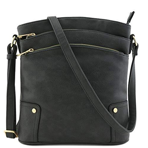 Triple Zip Pocket Large Crossbody Bag (Dark Gray)