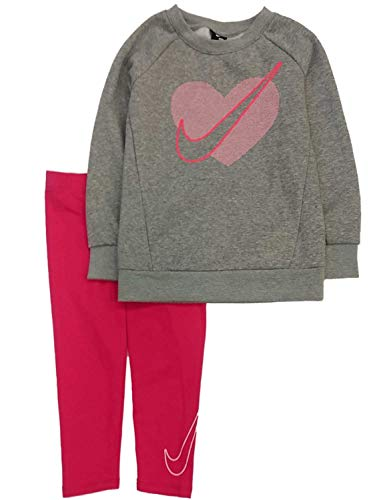 Nike Girls 2PC Sweats Suit Outfit Gray & Pink Heart Sweatshirt & Leggings 6