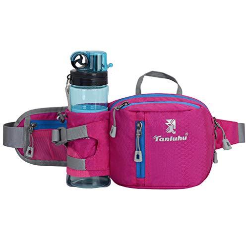 Huafi Hüfttasche Hüfttasche Hüfttasche mit Flaschenhalter Lauftasche für Camping Klettern Reisen Radfahren Hund Wandern, hot pink, 45 x 2 x 16cm/17.72 x 0.79 x 6.3\'\'