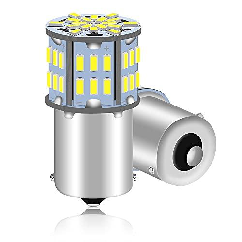 ALOPEE 2-Pack 1156 BA15S 7506 1141 1003 1073 Blanc Ultra-Lumineux 800Lums LED 12V-24V DC, 3014 54 SMD Remplacement Pour Intérieur RV Camper Eclairage Clignotants Ampoules de Frein de Queue
