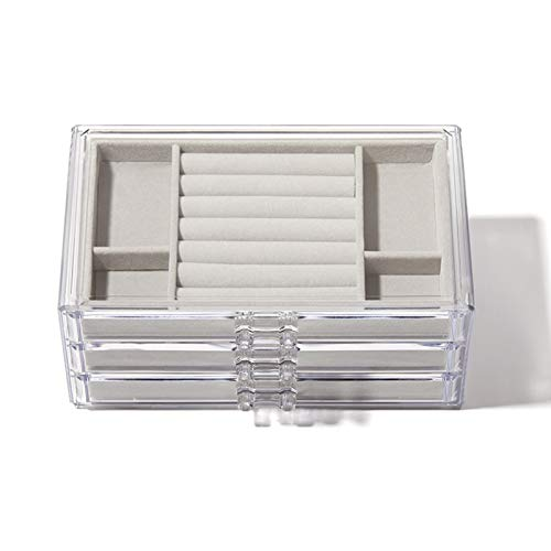 Joyero XIAOXIAO Caja De Joyería para Mujer con 3 Cajones Organizador De Joyas De Terciopelo para Pendientes Brazalete Pulsera Collar Anillos Almacenamiento Acrílico Transparente Porta Pendientes