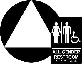 All Gender Restroom Sign Set, ADA Compliant Title 24 Set, Wall & Door Sign, Braille Grade II( Californian) , Title 24 ,12