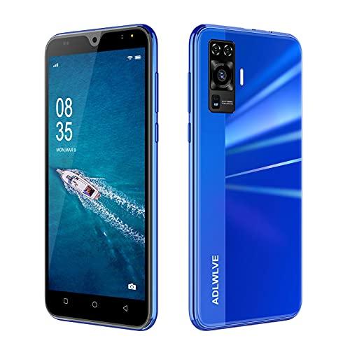Teléfono Móvil Libres 4G, Android 9.0 Smartphone Libre, 5.5' HD, 2GB + 16GB, Cámara 8MP, Batería 3600mAh, Smartphone Barato Dual SIM, Face ID Moviles Baratos y Buenos (2*SIM+1*SD) (Azul)