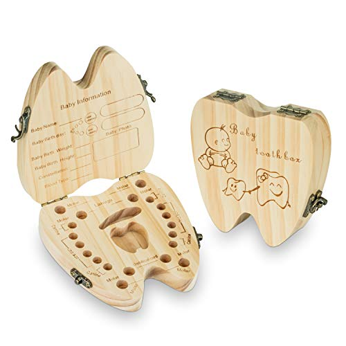 Baby Teeth Keepsake Box Tooth Fairy Holder Wooden First Lost Deciduous Tooth Collection Organizer Storage for Kids Memory(Boy)