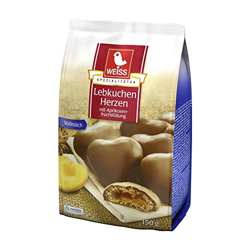 WEISS Milk Chocolate Lebkuchen Herzen gingerbread hearts with apricot jelly filling 150g/1ct.