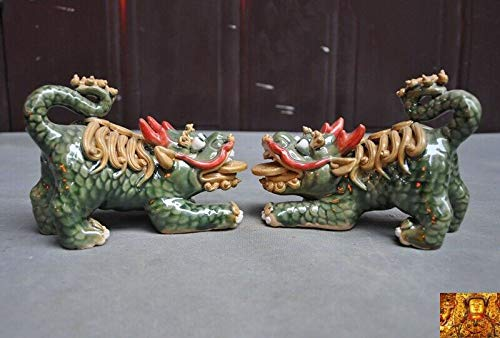 "SIYAO Wedding Decoration 6"" Chinese Pottery WuCai Porcelain Feng Shui Evil Door Guard Fu Foo Dog Lion Pair"
