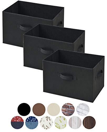 山善 どこでも収納ボックス YTCF-3P BK ブラック 3個セット