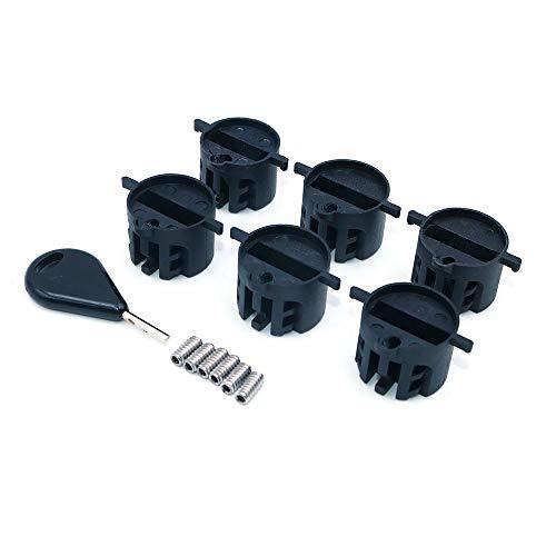 Namvo FCS - Juego de 6 tapones de aleta con tornillos para tabla de surf con llave de aleta
