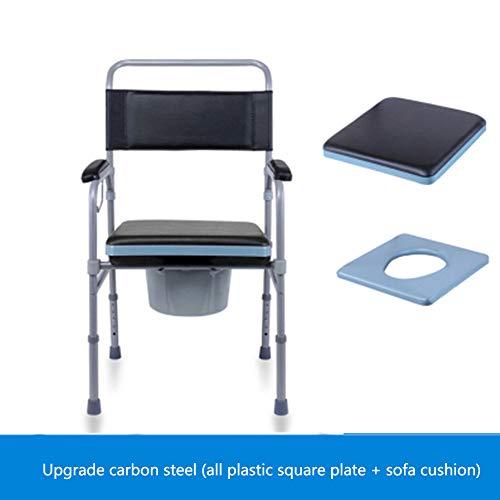 Älterer Hockender Stuhl, Stuhl Zusammenklappbare Toilette Volles Kohlenstoffstahlmaterial Beweglicher Toilettensitzschemelhocker Kann 150kg Tragen