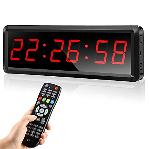 Seesii LED Gym Timer Interval Timer with Remote, Countdown/Up Wall Clock, Hookup Power Bank Fitness Timer Stopwatch for Gym Home, 11'' x 3.5''