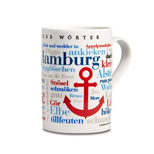 Tasse Hamburger Wörter, Mundart-Kaffeebecher mit Dialekt aus der Hansestadt Hamburg als Souvenir oder Geschenkidee, mehrfarbig
