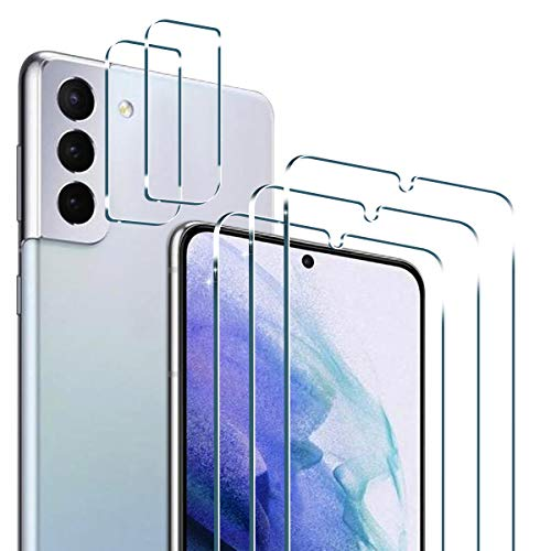 PULEN for Samsung Galaxy S21 Plus Screen Protector (3 Packs) with 2 Packs Camera Lens Protector,S21+ Plus Tempered Glass 9H Hardness HD Clear Scratch Resistant Bubble Free Anti-Fingerprints