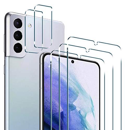 PULEN para Samsung Galaxy S21+ Plus 5G Cristal Templado Protector de Pantalla (3 PACK) + Protector de Lente de Cámara(2 PACK)9H Dureza [Anti Arañazos] Lens Film Protective Screen Protector