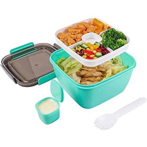 Yuffoo Caja de almuerzo de 55 onzas con 3 compartimentos, cuchara reutilizable y recipiente de condimento, cajas de almuerzo Bento sin BPA para hombres y mujeres, escuela de trabajo