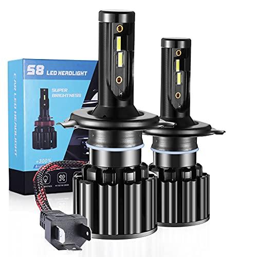 Ampoule H4 LED, 16000LM 6500K Phares pour Voiture et Moto, Ampoules Auto de Rechange pour Lampes Halogènes et Kit Xenon, 2 Ampoules