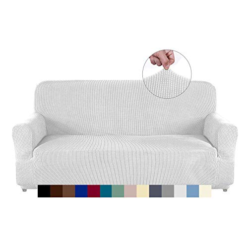 AUJOY - Funda elástica para sofá de 3 cojines, tela elastano Jacquard, protector de muebles, con espuma antideslizante, Blanco,...