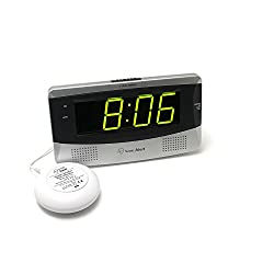 Sonic Alert Large Digital Clock, Loud Alarm Clock for Heavy Sleepers with Snooze, Full Range Brightness Dimmer, Outlet Powered Digital Clocks for Bedroom, Desk, Bedside, Shelf (gray)