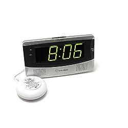 Sonic Alert Large Digital Clock, Loud Alarm Clock for Heavy Sleepers with Snooze, Full Range Brightness Dimmer, Outlet Powered Digital Clocks for Bedroom, Desk, Bedside, Shelf (gray) Silver