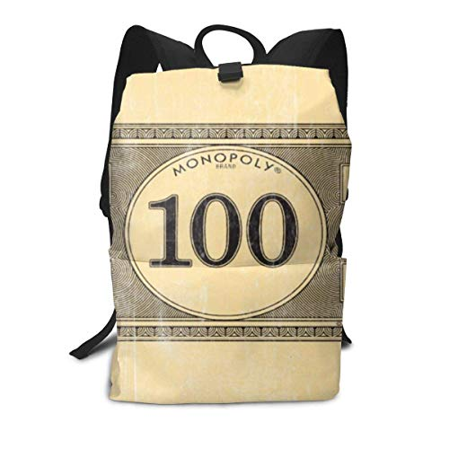 Homebe ClassicAdults Backpack Monopoly Vintage 100 Dollar Bill Bath Mat Travel Bag Daypacks For School Hiking Outdoor Sports