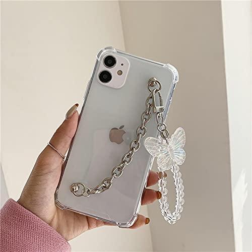 Carcasa De Telefono Estuche Blando A Prueba De Golpes De Mariposa Transparente con Cadena Coreana 3D para iPhone 12 Pro MAX Mini 11 Pro MAX XR X XS Ma