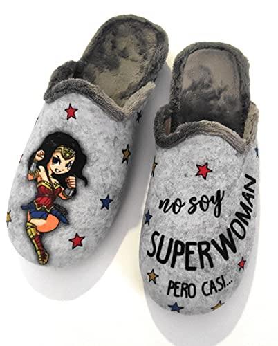 Sevillas - Zapatillas Casa Mujer Fantasía   Chinela Juvenil Dibujos Plana (Superwoman Gris, 37, numeric_37)