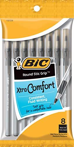 BIC Round Stic Grip Xtra Comfort Ball Pen, Medium Point (1.2 mm), Black,...