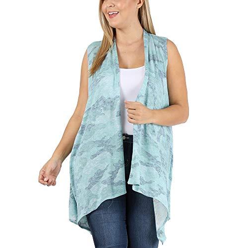 LoveCurvy (J2071) Plus Size Women's Sleeveless Solid Multi Print Drapery Vest Cardigan (Mint Army(AA), 1X)