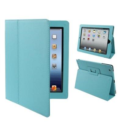 Hoesje voor IPad 2 / IPad 3 / IPad 4, Litchi Texture Vouwleer Met Slaap/Wekker & Houder Functie Tablet Case, Baby Blauw