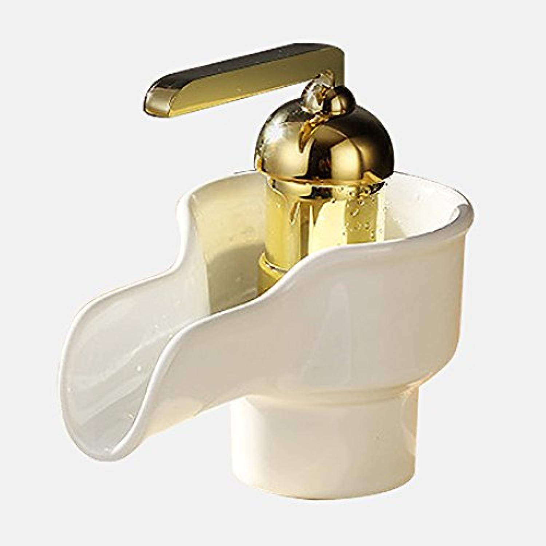 Bijjaladeva Wasserhahn Bad Wasserfall Mischbatterie Waschbecken Waschtisch Armatur für BadezimmerKeramik Waschtisch Armatur Coole Retro weier Keramik Antike Wasserfall Wasserhahn