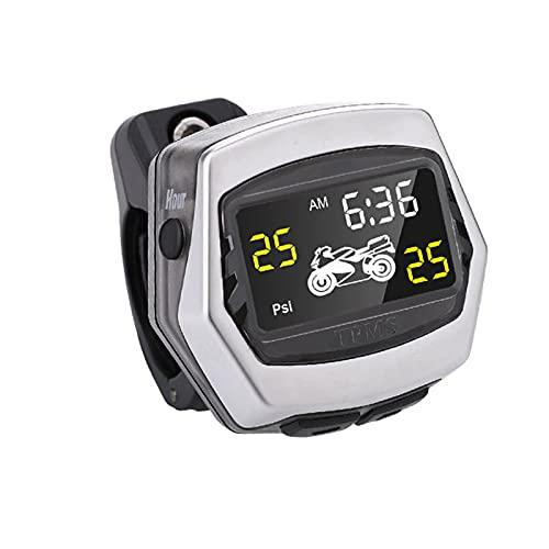 Boyuan Sistema de monitoreo de presión de neumáticos TPMS para Motocicleta, IP67 a Prueba de Agua, Alarma de zumbador, Pantalla de Tiempo incorporada, con 2 sensores externos, Pantalla LCD Digital