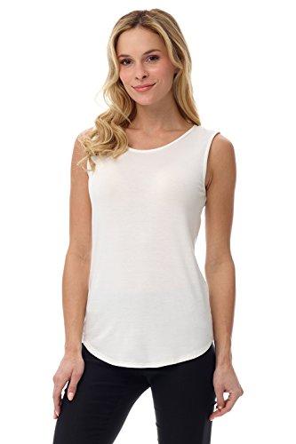Rekucci Women's Soft Jersey Knit Sleeveless Tank Top (S-XXL) (Large,Ivory)