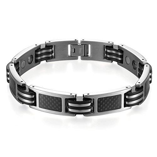 JewelryWe Schmuck Herren Magnet Armband, Edelstahl Gummi Kautschuk Link Magnetarmband Armkette mit Kohlenstoff Faser Kohlenfaser, Schwarz Silber
