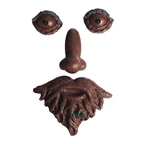 #N/A/a Rústico Creativo de Resina Bigote Viejo Hombre Cara de Resina jardín Mirilla árboles abrazador Whimsical casa Patio Mirilla Estatua Colgante Halloween