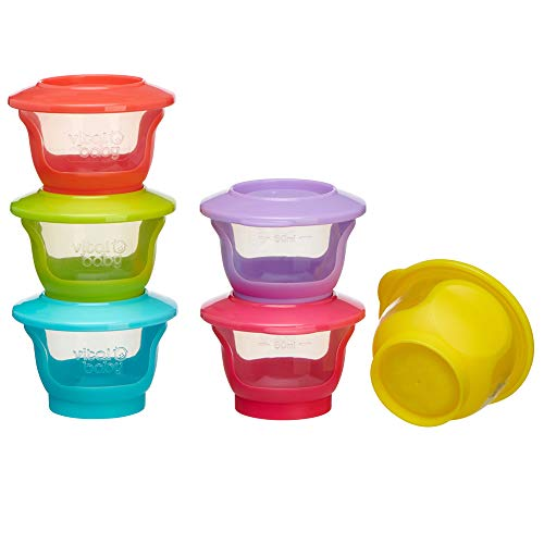 vital baby NOURISH Store & Wean pots, Storage Pots with Soft Base, (Pack of 6 x 60 ml)