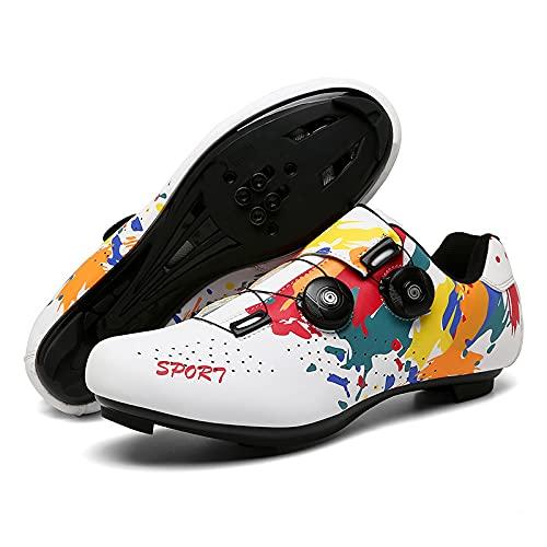 Zapatillas de ciclismo para mujer, hombre, carretera SPD, para ciclismo, con aspecto SPD, con zapatos de ciclismo compatibles con SPD, Delta Cycle Riding Cleat Peloton, color blanco
