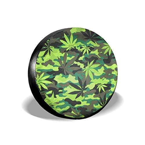 Kejbr Reserveradabdeckung Marijuana Camouflage Weed Polyester Universal Ersatzradabdeckung Radabdeckungen Fit for Jeep Trailer RV SUV and Various Vehicles Accessories 16 in