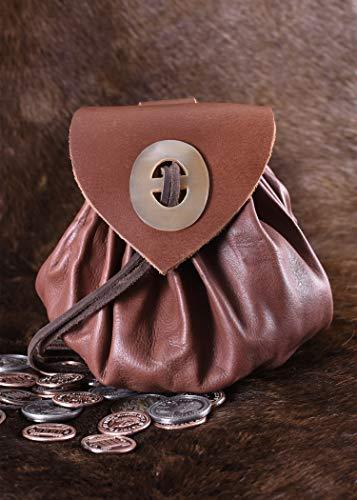 Geldbeutel mit Hornknopf, rotbraun Lederbeutel, groß Ledertasche – Wikinger – LARP – Mittelalter - 3