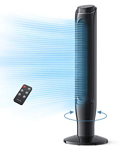 """Tower Fan, TECHVILLA 360° Oscillating Fan with Remote Control, 40"""" Quiet Cooling Fan, 3 Modes and 3 Speeds Setting with LED Display Electric Standing Fan for Living Room, Bedroom and Home Office Use"""