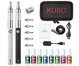 Cigarrillo electrónico Kit E Cigarette Cachimba/Kit doble: 2x batería EVOD 1100mAh + 2x atomizador Mini Protank + 5x bobinas adicionales + 8x10ML e-líquido sin nicotina (2 piezas negro + blanco)
