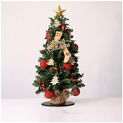 NYKK Christmas Tree Small Artificial Green Fir Christmas Tree With Red Stars And Pine Cones Christmas Ornaments (With Base) (Color : B)