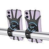 DOKEI Soporte Movil Bicicleta Silicona, 2 Piezas Soporte Movil Motocicleta 360° Rotación Portamoviles Moto Bici Anti Vibración para Smartphones de 4.0'-6.7' Universal