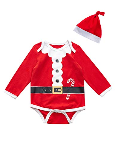 Baby Boys Girls Outfit Set Christmas Santa Claus Costume Bodysuit, Red, Size 3-6 Months
