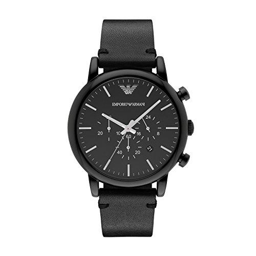 Emporio Armani Herren Chronograph Quarz Uhr mit Leder Armband AR1918