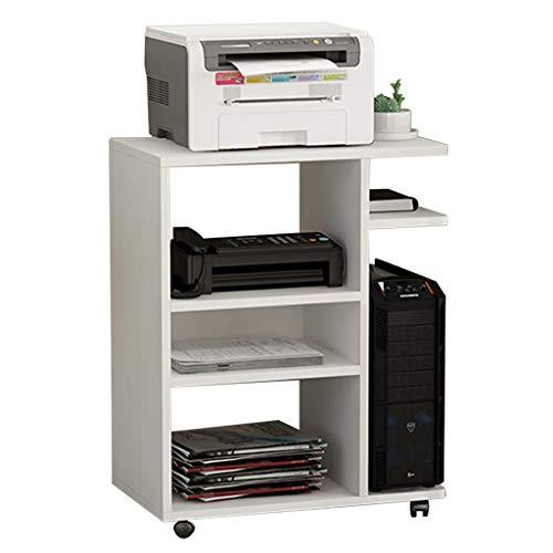 プリンタラック プリンター棚メインキャビネットデスクプリンターラック取り外し可能な木製の本棚テーブル多層ファイル収納ラックホーム仕上ラック (Color : 白, Size : 65*40*75cm)