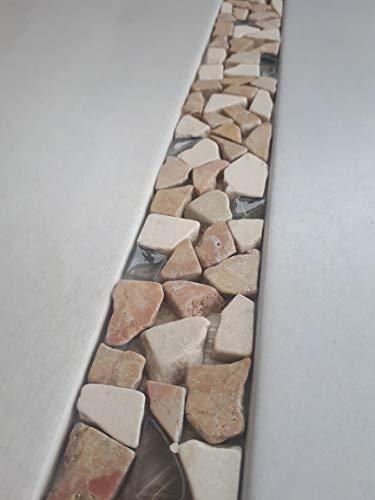 Naturstein Mosaik Bordüre aus Marnor und Glas im Format von 30 x 5 cm Fliesen
