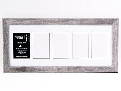 Creative Letter Art Collage 5-4x6 Opening Driftwood Picture Frame with Full Strength Glass and 10x24 White Mat