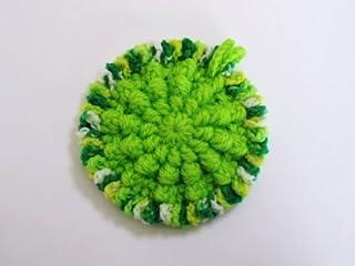 アクリル・エコたわし* 洗剤なしでピッカピカ~!(きれいな黄緑色) 抗菌・防臭糸使用(全体)銀イオン配合(外周)