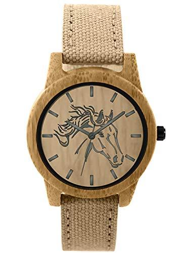 Pacific Time Reloj de pulsera para mujer con diseño de caballo, madera y lona, correa textil beige, analógico, cuarzo 87204
