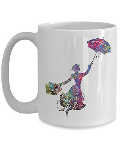 N\A Navidad Mary Poppins Taza de café, Divertida, Taza, té, Regalo para Navidad, día del Padre, Navidad, papá, Aniversario, día de la Madre, papá, corazón, Santa