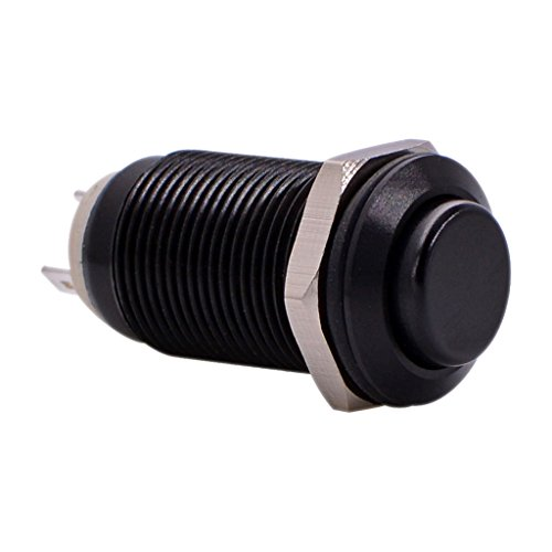Latching Push Button Switch, URTONE UR129, 1NO ON/Off DC/AC 36V 2A Aluminum Alloy Metal Shell Suitable for 12mm 1/2 Mounting Hole (Black)